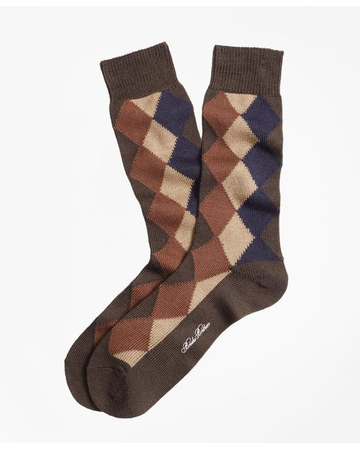 Brooks Brothers | Brown Solid With Argyle Crew Socks for Men | Lyst