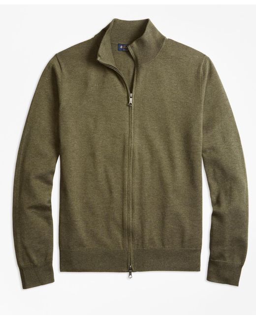 Brooks Brothers - Green Supima® Cotton Full-zip Cardigan for Men - Lyst