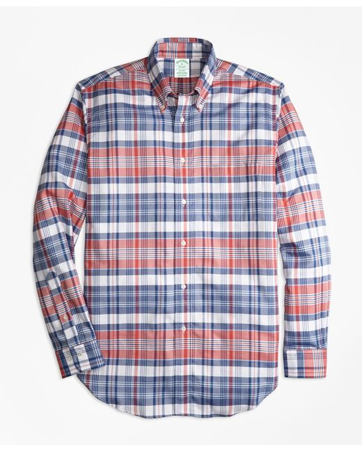 Brooks Brothers - Blue Regent Fit Oxford Madras Plaid Sport Shirt for Men - Lyst