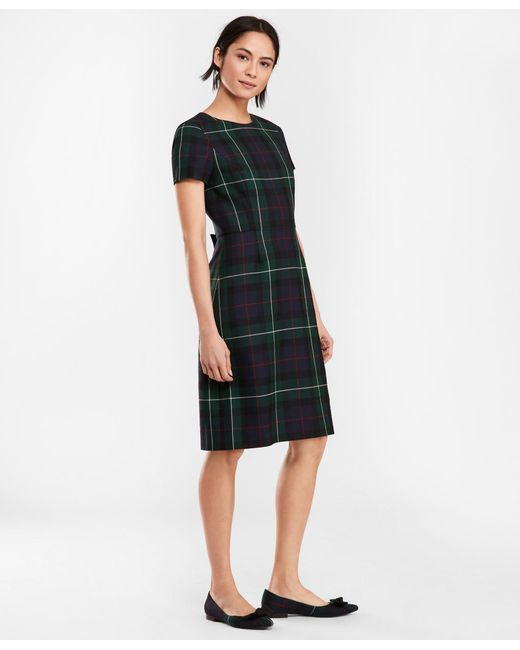 Brooks Brothers - Green Tartan Wool Twill A-line Dress - Lyst