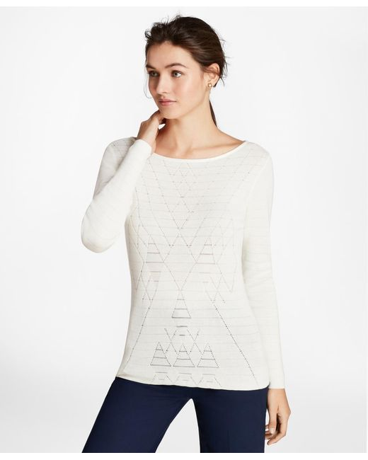 Brooks Brothers | White Argyle Cotton-blend Sweater | Lyst