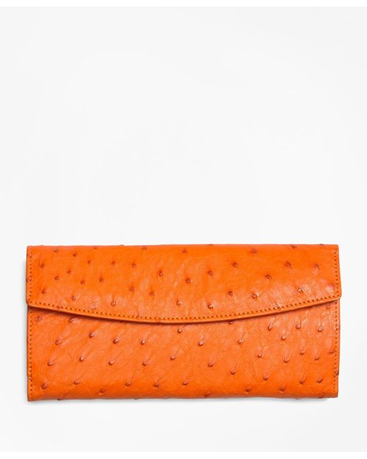 Brooks Brothers - Orange Ostrich Wallet - Lyst