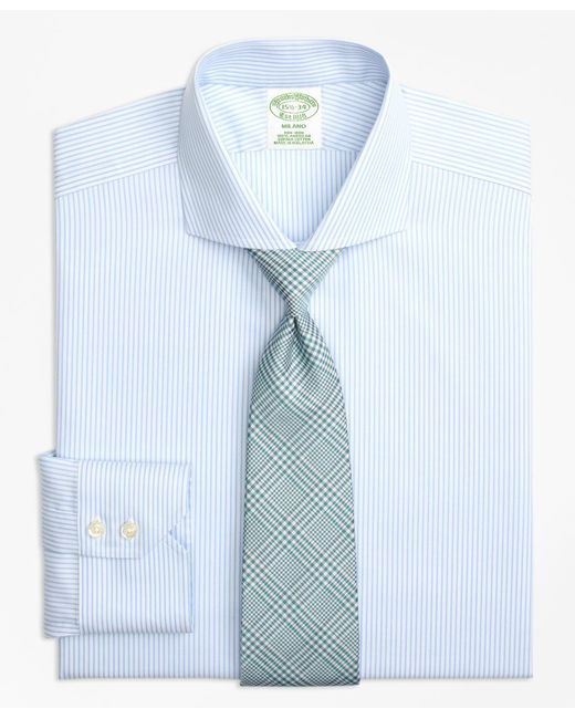 Brooks Brothers | Blue Milano Slim-fit Dress Shirt, Non-iron Alternating Stripe for Men | Lyst