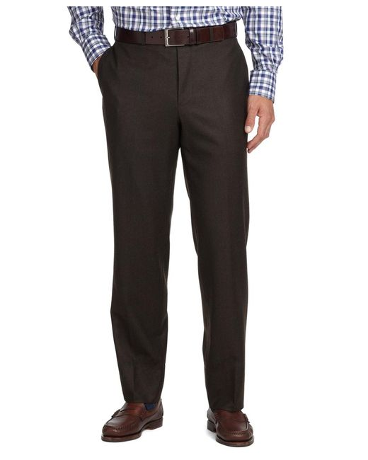 Brooks Brothers - Brown Fitzgerald Fit Plain-front Flannel Dress Trousers for Men - Lyst