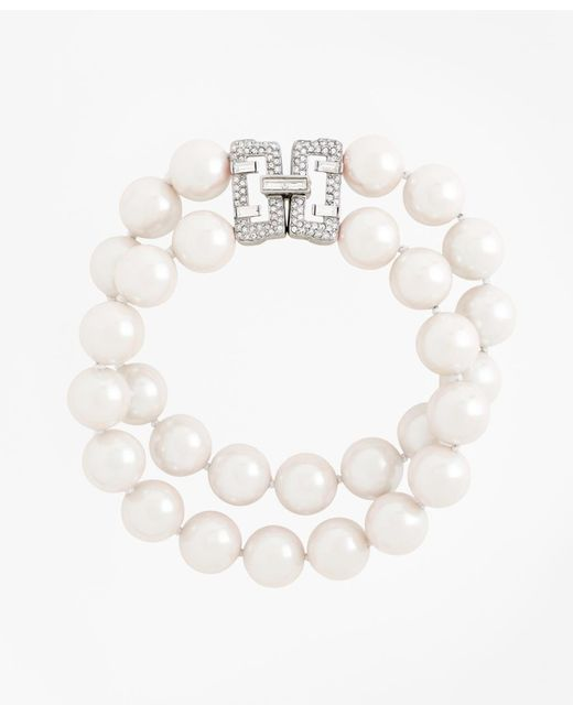 Brooks Brothers - White Two-row 12mm Glass Pearl Bracelet - Lyst