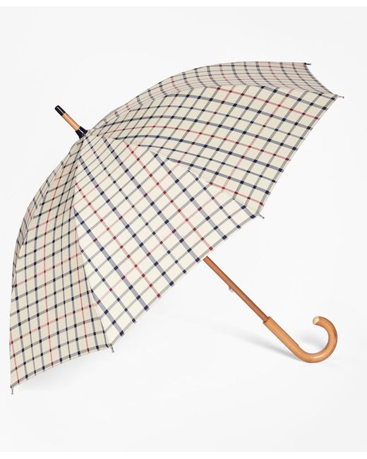 Brooks Brothers | Natural Tattersall Umbrella | Lyst