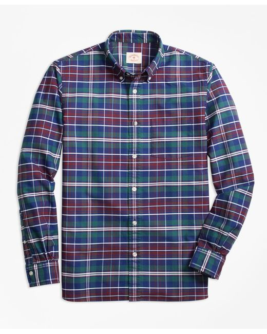 Brooks Brothers | Blue Yarn-dyed Plaid Oxford Sport Shirt for Men | Lyst