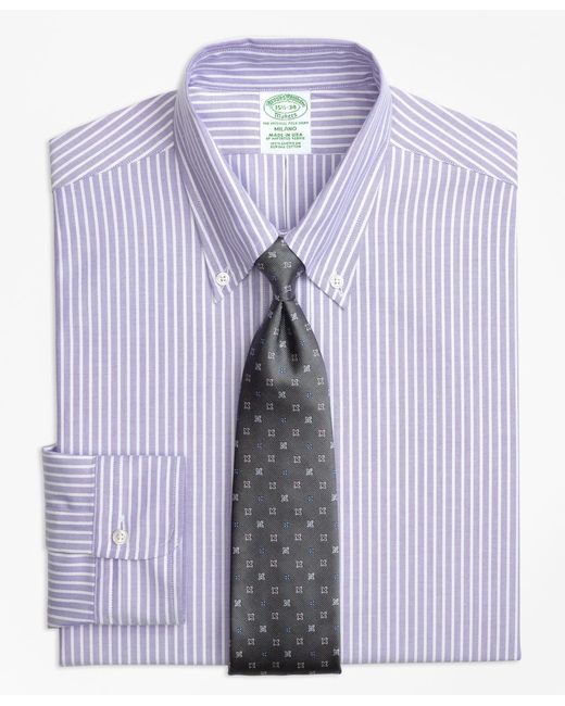 Brooks Brothers - Purple Original Polo® Button-down Oxford Milano Slim-fit Dress Shirt, Ground Stripe for Men - Lyst