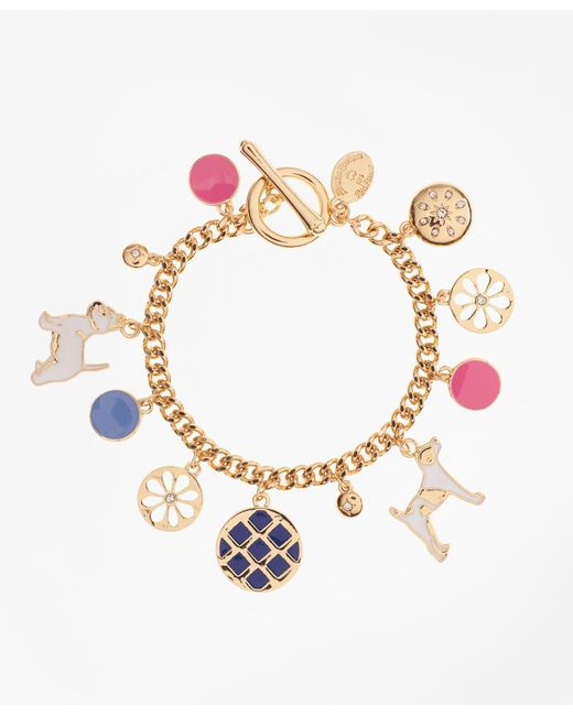 Brooks Brothers - Metallic Enamel Dog Charm Bracelet - Lyst