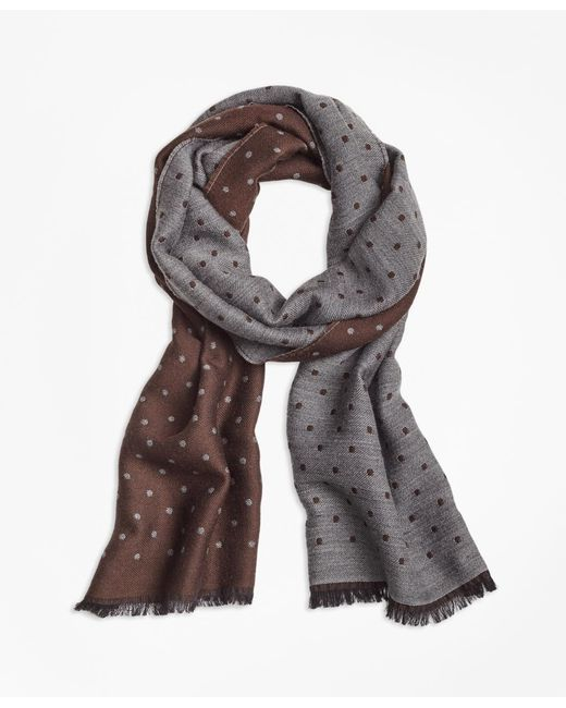 Brooks Brothers - Brown Contrast Polka Dot Scarf for Men - Lyst