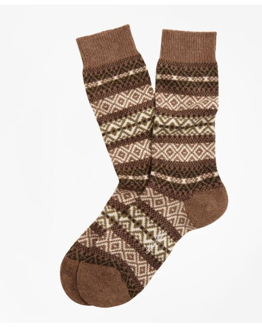 Brooks Brothers - Natural Cashmere Fair Isle Crew Socks for Men - Lyst