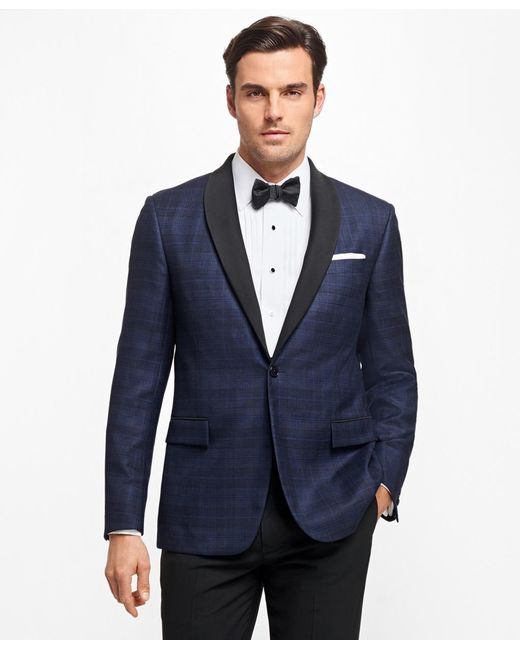 Brooks Brothers - Blue Regent Fit Plaid Tuxedo Jacket for Men - Lyst