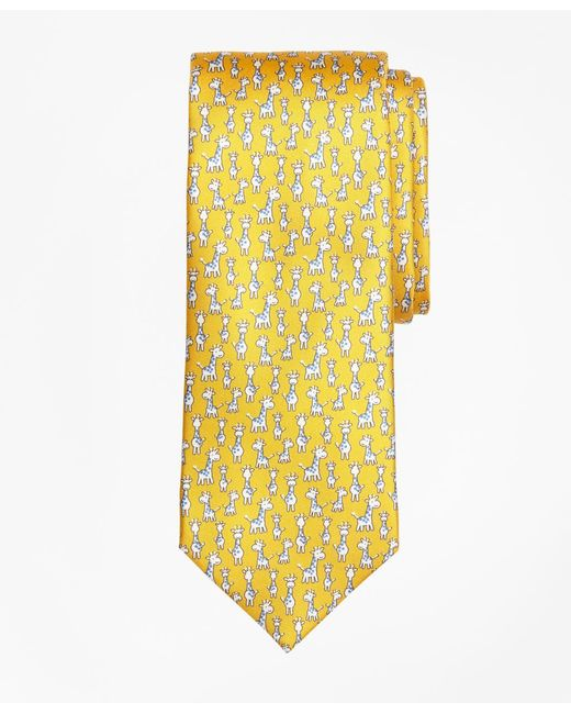 Brooks Brothers - Yellow Giraffe Print Tie for Men - Lyst