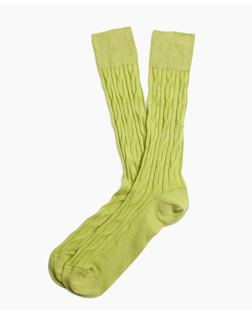 Brooks Brothers   Green Cable Crew Socks for Men   Lyst