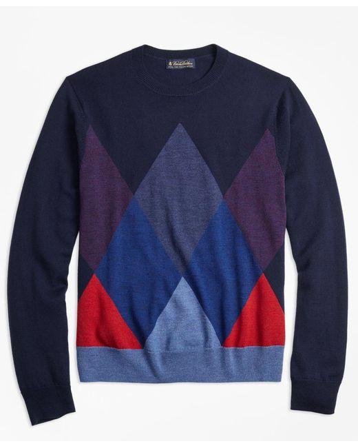 Brooks Brothers | Blue Merino Wool Argyle Crewneck Sweater for Men | Lyst