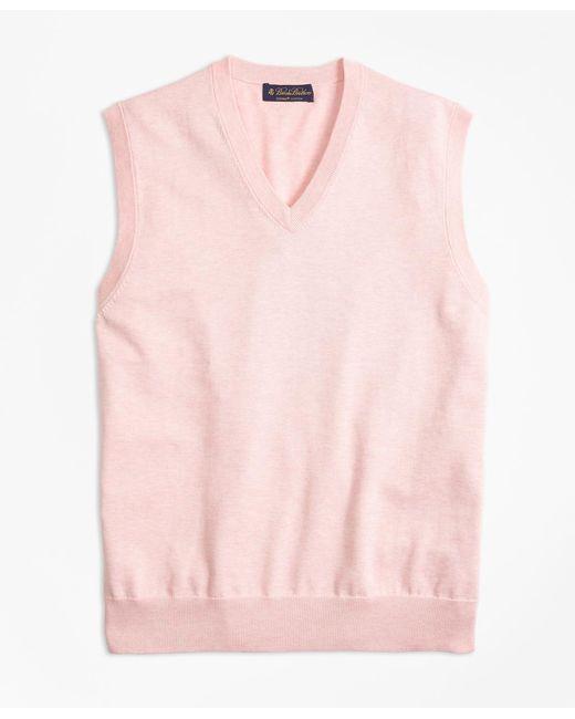 Brooks Brothers - Pink Supima® Cotton V-neck Sweater Vest for Men - Lyst