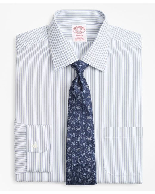 Brooks Brothers - Blue Madison Classic-fit Dress Shirt, Non-iron Alternating Double-stripe for Men - Lyst