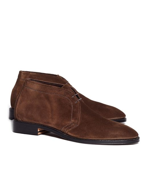 Brooks Brothers - Brown Unstructured Suede Chuka Boots for Men - Lyst