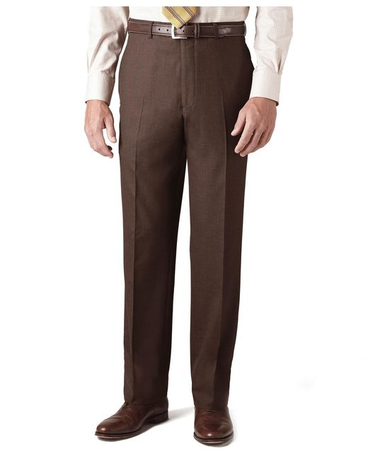 Brooks Brothers | Brown Country Club Saxxon Wool Madison Fit Plain-front Trousers for Men | Lyst