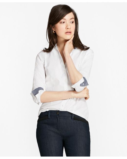 Brooks Brothers | White Petite Fitted Non-iron Striped Cotton Poplin Shirt | Lyst
