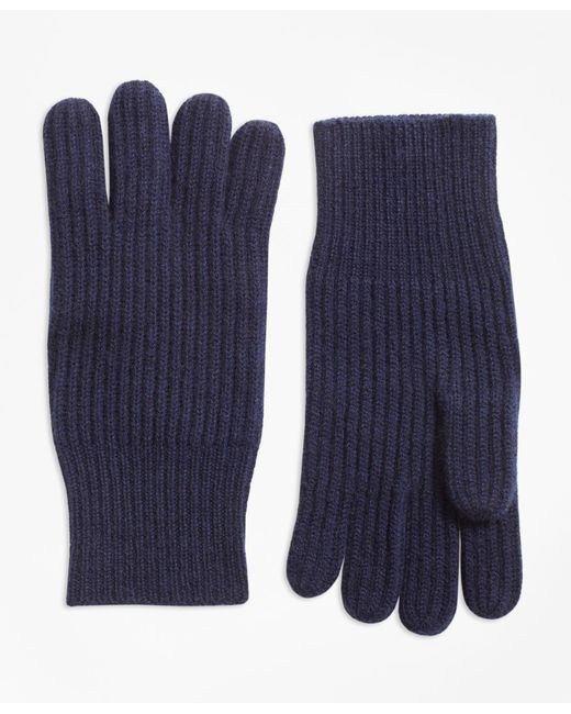 Brooks Brothers | Blue Ribbed Cashmere Gloves | Lyst