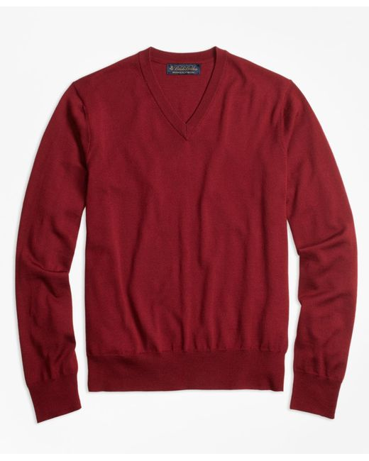 Brooks Brothers | Red Brookstech Merino Wool V-neck Sweater for Men | Lyst