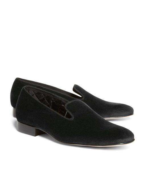 Brooks Brothers | Black Velvet Slippers for Men | Lyst