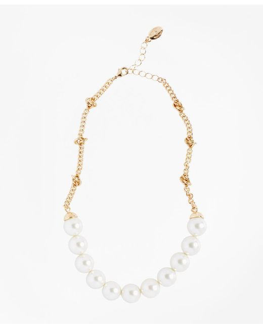 Brooks Brothers - Metallic Glass Pearl And Knotted Chain Necklace - Lyst