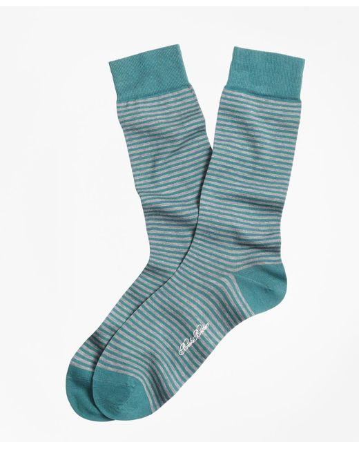 Brooks Brothers | Green Stripe Crew Socks for Men | Lyst