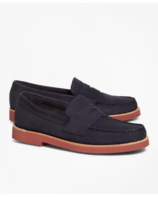 Brooks Brothers - Blue Nubuck Penny Loafers for Men - Lyst