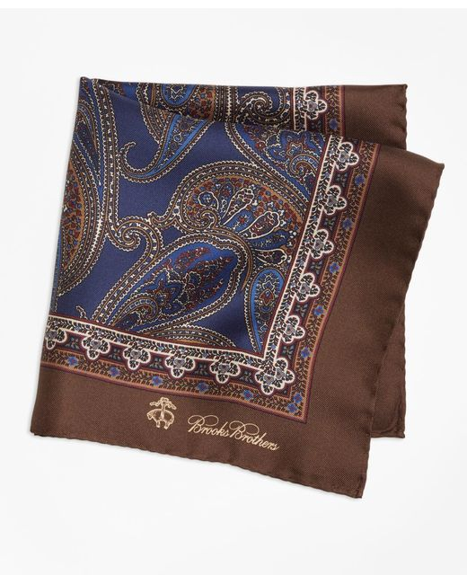 Brooks Brothers | Brown Paisley Pocket Square for Men | Lyst