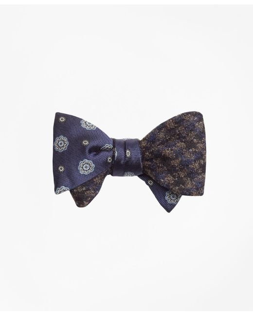 Brooks Brothers | Blue Spaced Medallion With Multi-check Reversible Bow Tie for Men | Lyst