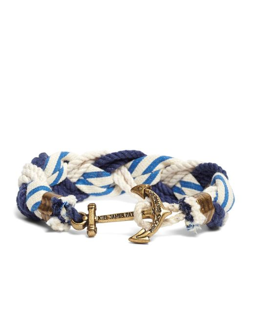 Brooks Brothers - Blue Kiel James Patrick Stripe Braided Bracelet for Men - Lyst