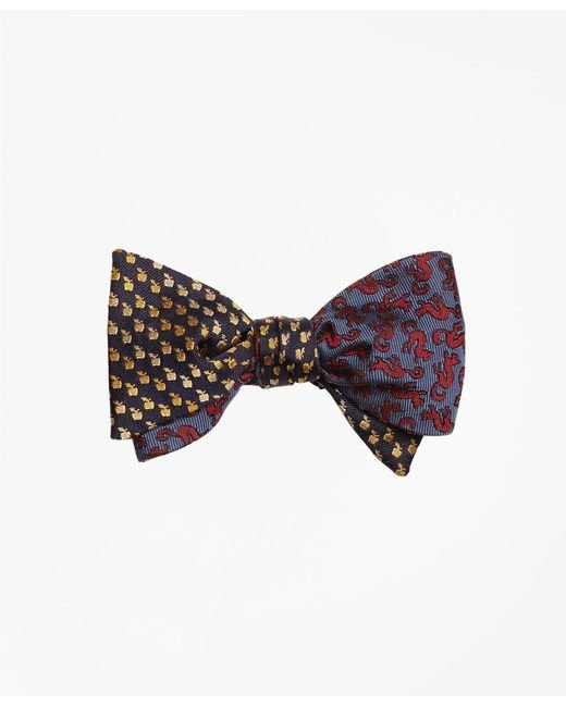 Brooks Brothers - Blue Apple And Squirrel Motif Reversible Bow Tie for Men - Lyst