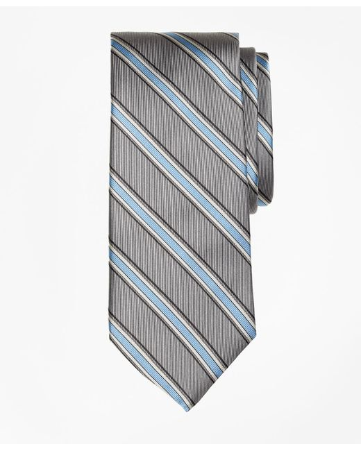 Brooks Brothers | Gray Twill Framed Stripe Tie for Men | Lyst