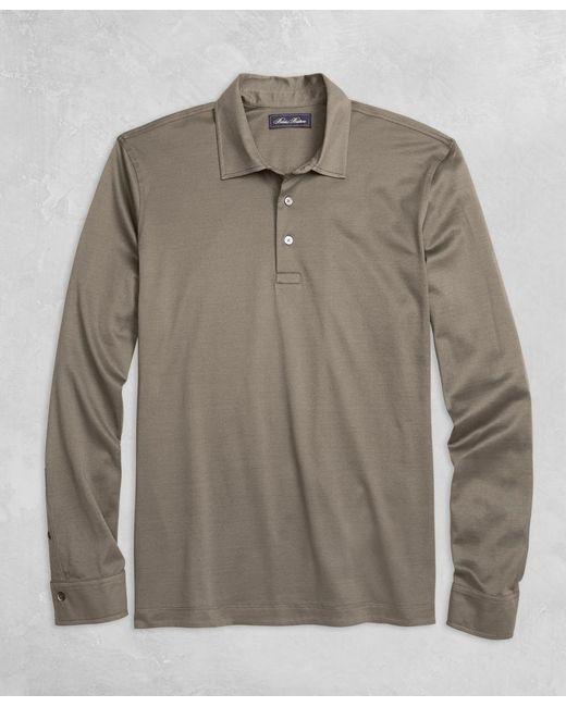 Brooks Brothers - Gray Golden Fleece® Pique Knit Long-sleeve Polo Shirt for Men - Lyst