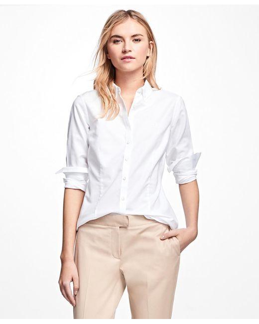 Brooks Brothers - White Petite Non-iron Tailored-fit Supima® Cotton Dress Shirt - Lyst