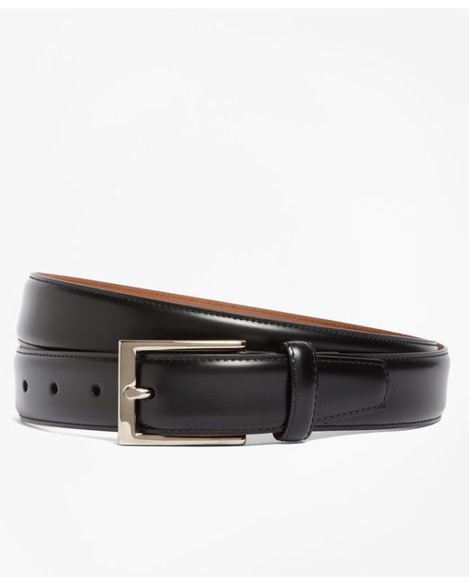 Brooks Brothers | Black Silver Buckle Leather Dress Belt for Men | Lyst