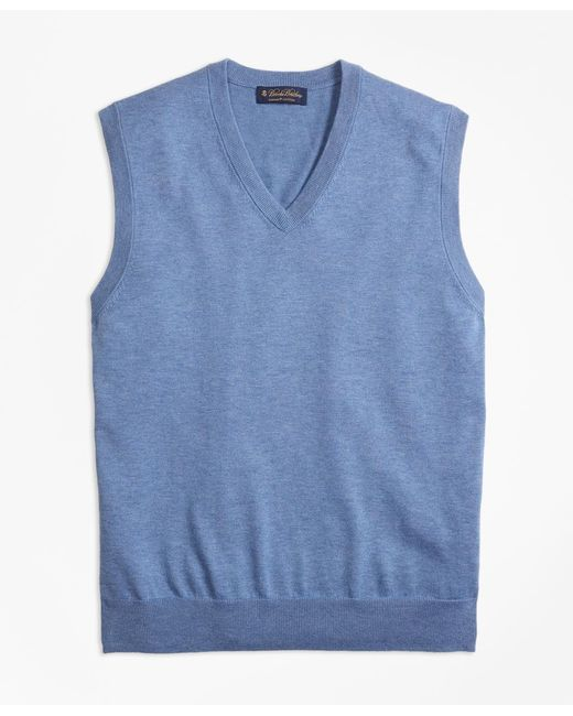 Brooks Brothers - Blue Supima® Cotton V-neck Sweater for Men - Lyst