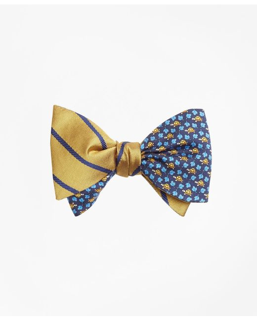 Brooks Brothers - Blue Twill Stripe With Turtle And Leaf Print Reversible Bow Tie for Men - Lyst