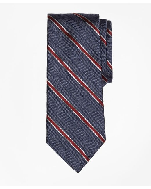 Brooks Brothers - Blue Herringbone Framed Stripe Tie for Men - Lyst