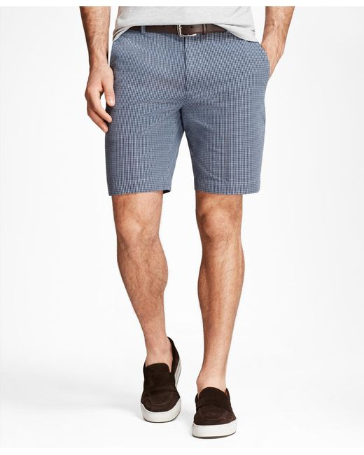 Brooks Brothers - Blue Chambray Gingham Shorts for Men - Lyst