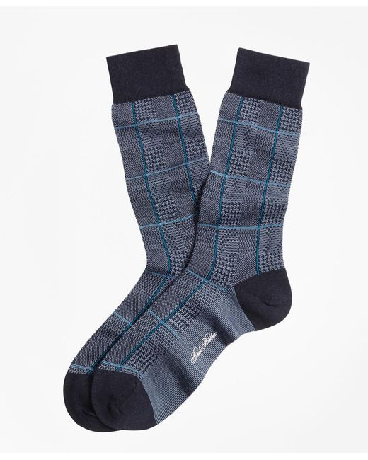 Brooks Brothers | Blue Glen Plaid Crew Socks for Men | Lyst