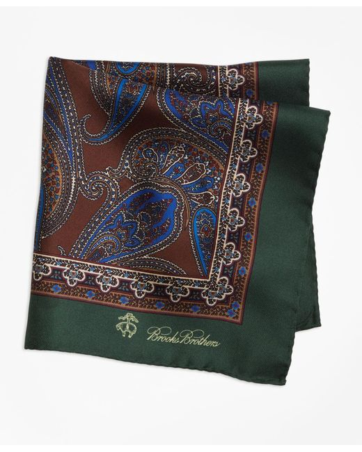Brooks Brothers - Green Paisley Pocket Square for Men - Lyst