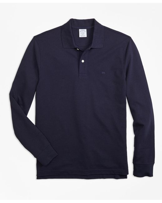 Brooks Brothers - Blue Slim Fit Supima® Long-sleeve Performance Polo Shirt for Men - Lyst