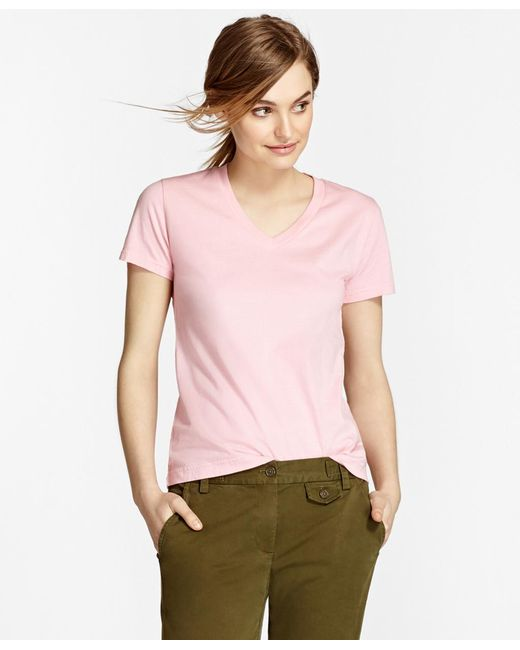 Brooks Brothers - Pink Garment-dyed V-neck T-shirt - Lyst