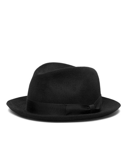 Brooks Brothers | Black Tonal Ribbon Fedora for Men | Lyst