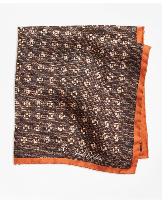 Brooks Brothers | Orange Geo Rose Pocket Square for Men | Lyst