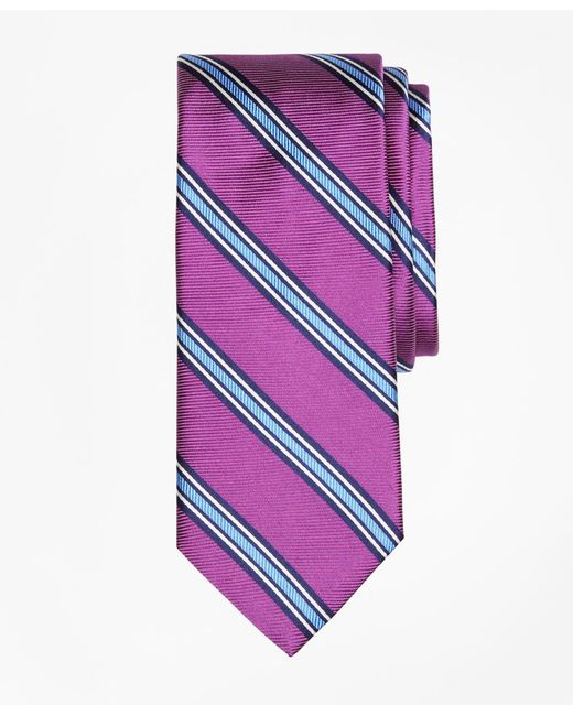 Brooks Brothers - Purple Double-framed Stripe Tie for Men - Lyst