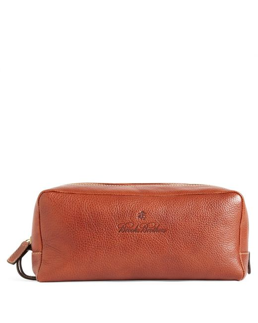 Brooks Brothers - Brown Leather Travel Toiletry Case for Men - Lyst